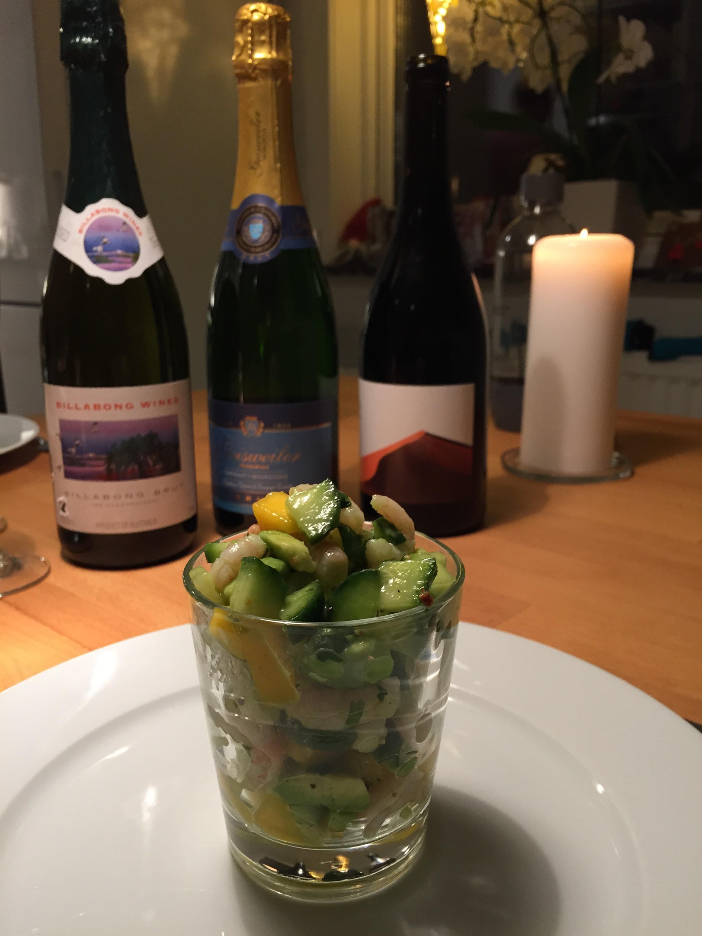 Nyårsförrätt, vin och bubbel